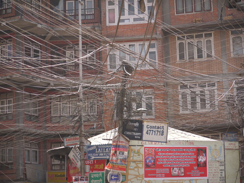 Crazy wiring in the city of Kathmandu