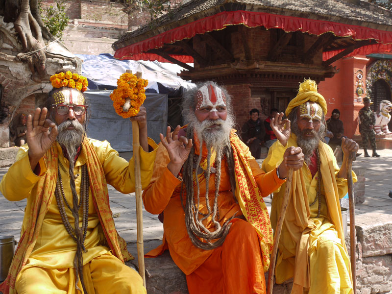 Three enterprising Sadhu holy men, Durbar square, Kathmandu