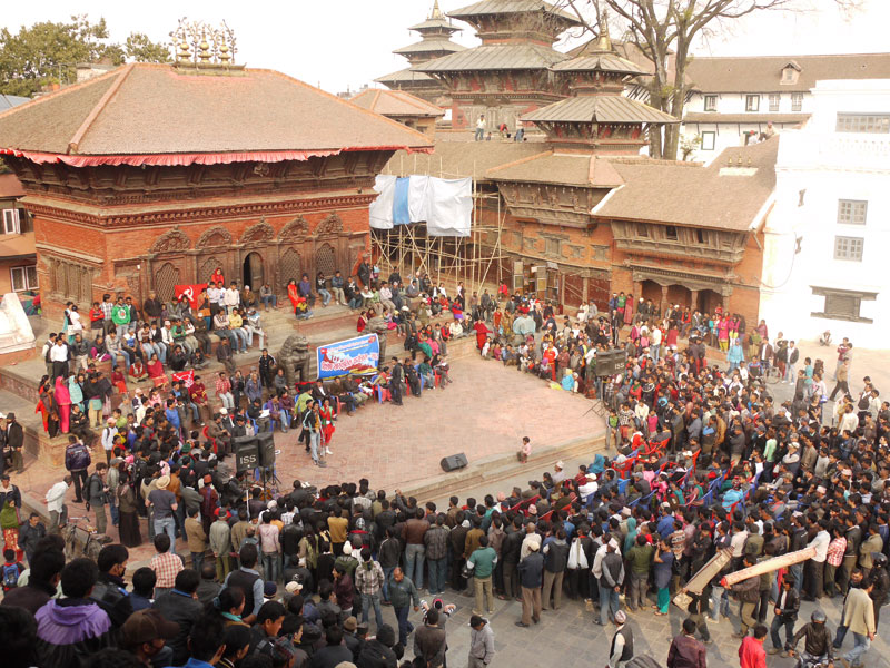 A crowded Durbar square on a Saturday, Kathmandu