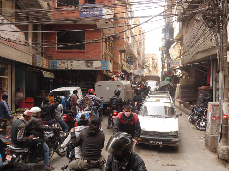 Traffic jam in the busy streets of Kathmandu