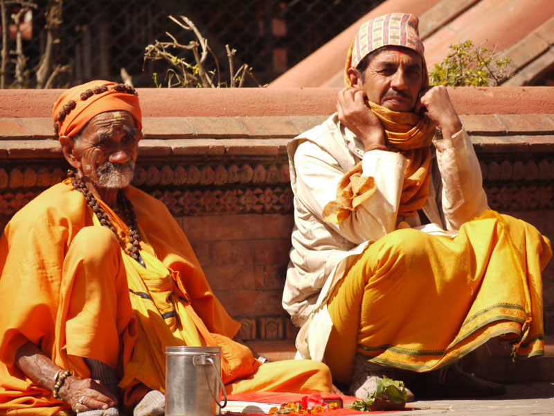 Holy men sitting near the temple complex in Pashupatinath, Nepal
