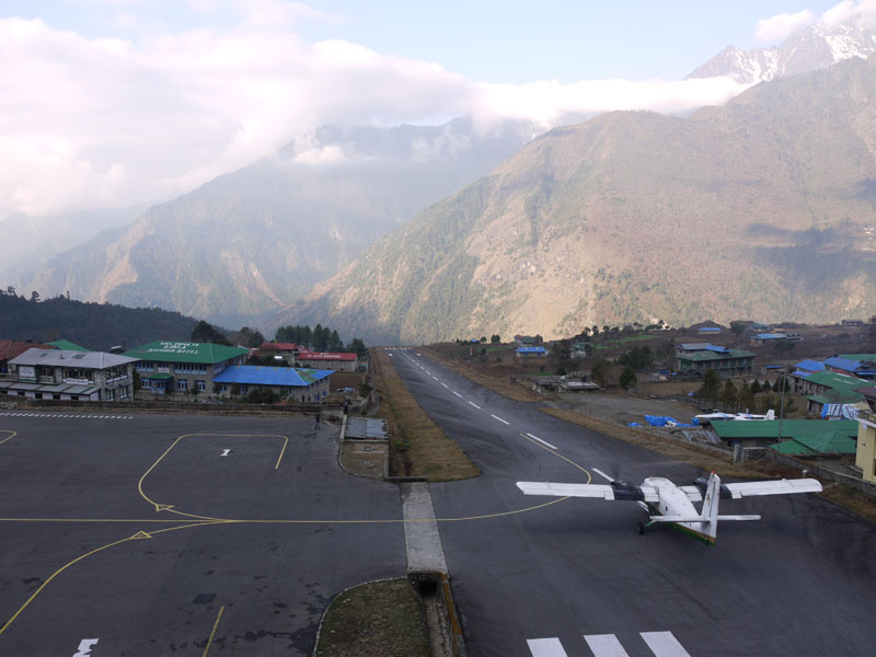 Plane getting ready to take off at Lukla Airport, Nepal