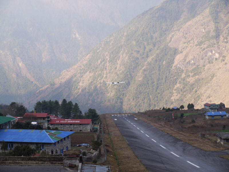 The incredible drop-off runway at Lukla Airport, Nepal