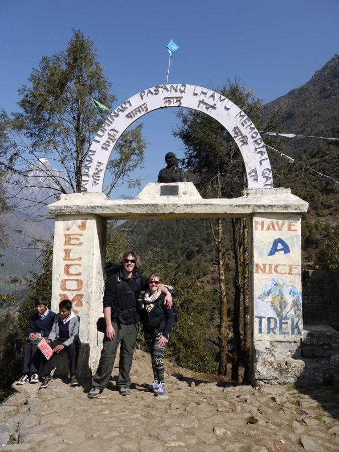 Brian and Noelle at the beginning of the Everest Base Camp Trek in Lukla, Nepal