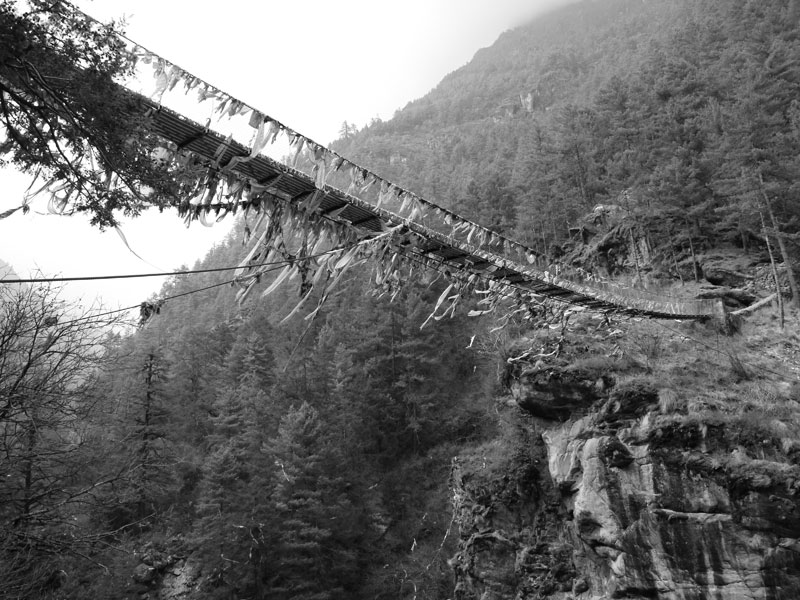 Bridge crossing the valley on the Everest Base Camp Trek, Nepal