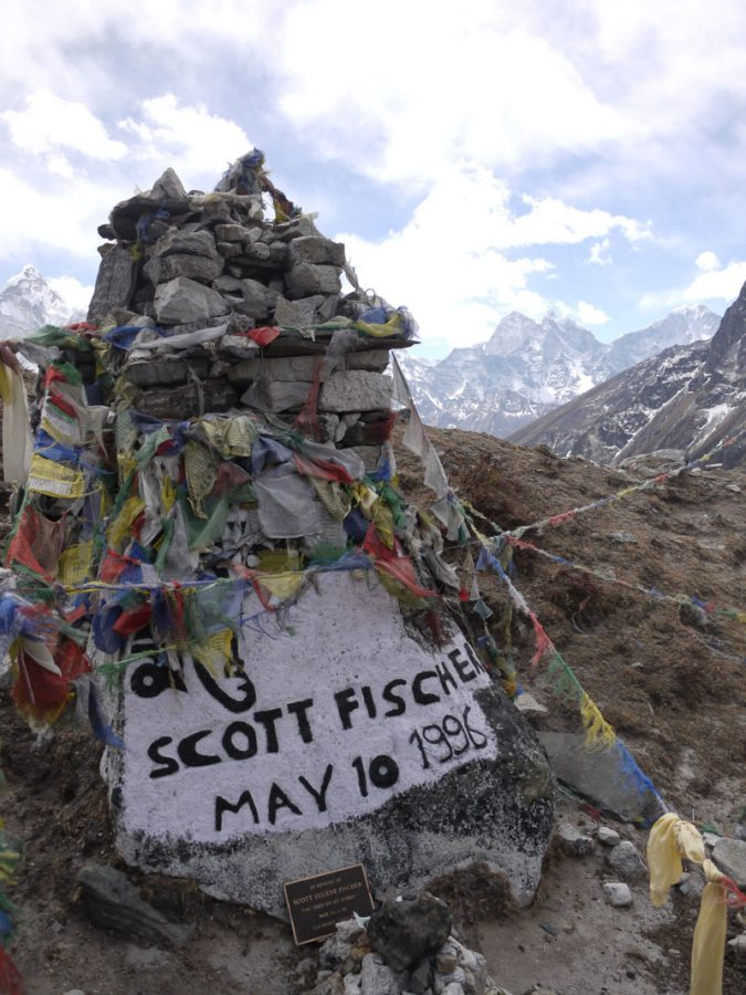 Memorial near Dughla to American climber Scott Fischer, who died descending from Everest in 1996
