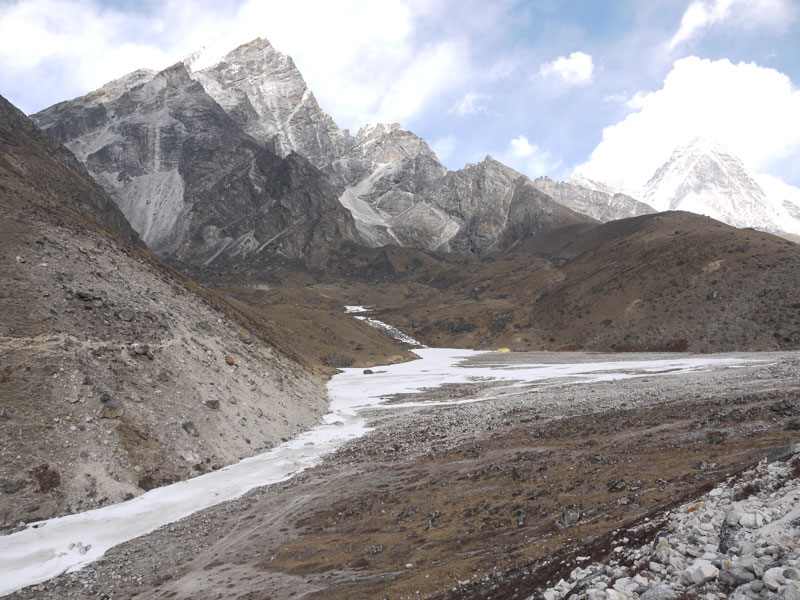 Frozen lake where the Lobouche Base Camp is located on the Everest Base Camp trail