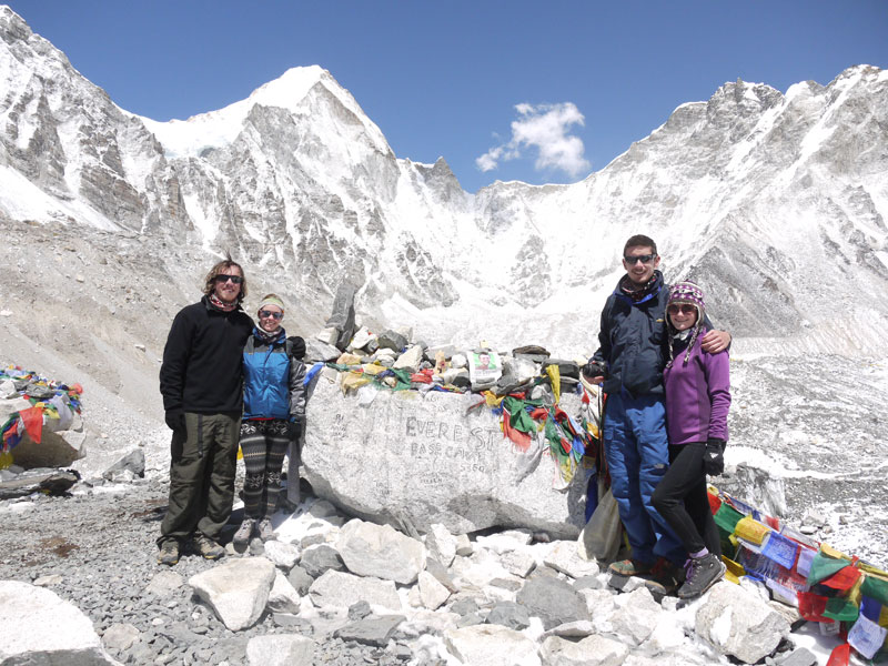 Brian, Noelle, Mike and Linda at Everest Base Camp after nine days of trekking in Nepal