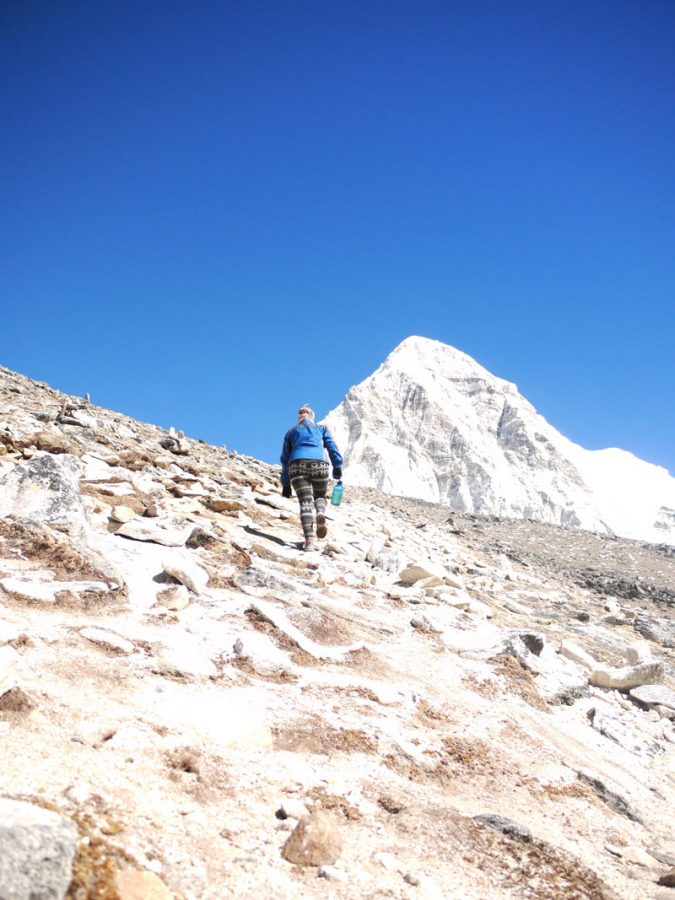 Walking up the steep path to Kala Pattar at 5,550 meters