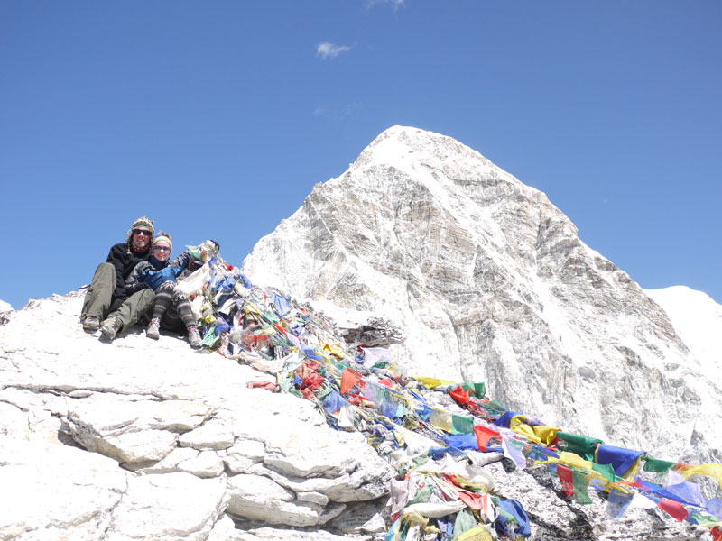 Brian and Noelle on top of Kala Pattar at 5,550 metres after 10days of trekking in the Khumbu region, Nepal