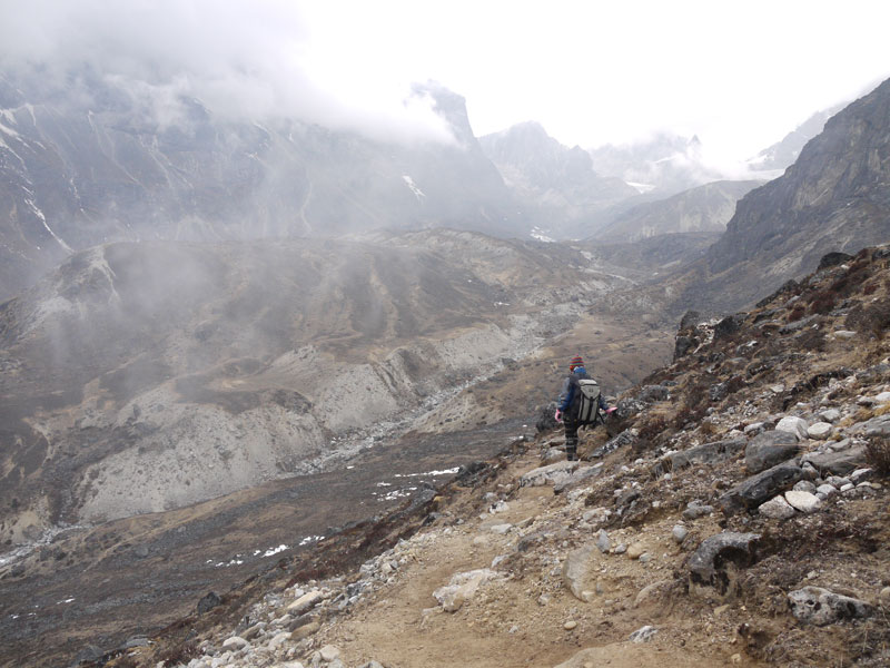 On the trail to Dzongla, all alone in the Nepali Himalayas