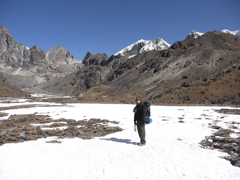 Brian crossing a frozen lake, edging closer to the foot of the Cho La Pass on the Everest Base Camp trail, Nepal
