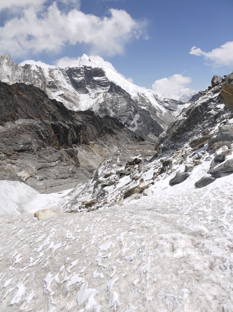 This is the one fall into the glacier we faced if we put one foot wrong in the dangerous conditions