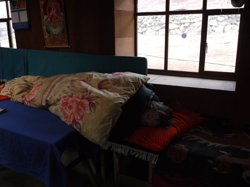 A sick Brian resting in the tea-house in Lumde