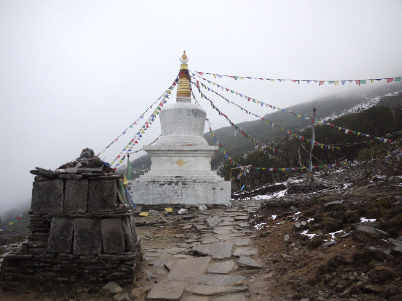 Stupa at the top of the Lamjura La (Pass) on day 20 of the Everest Base Camp Trek
