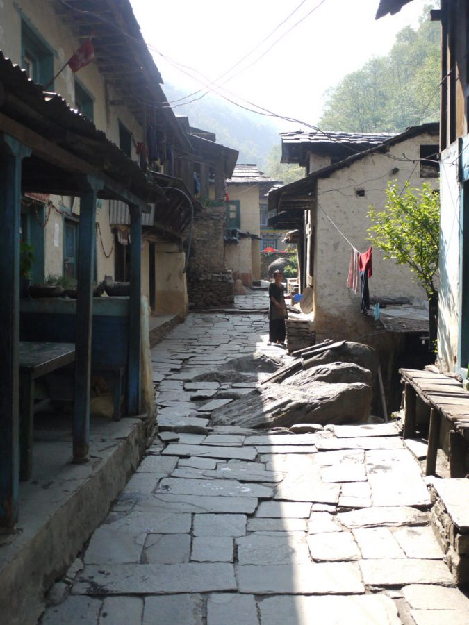 Cobblestone streets of the small riverside town of Kinja