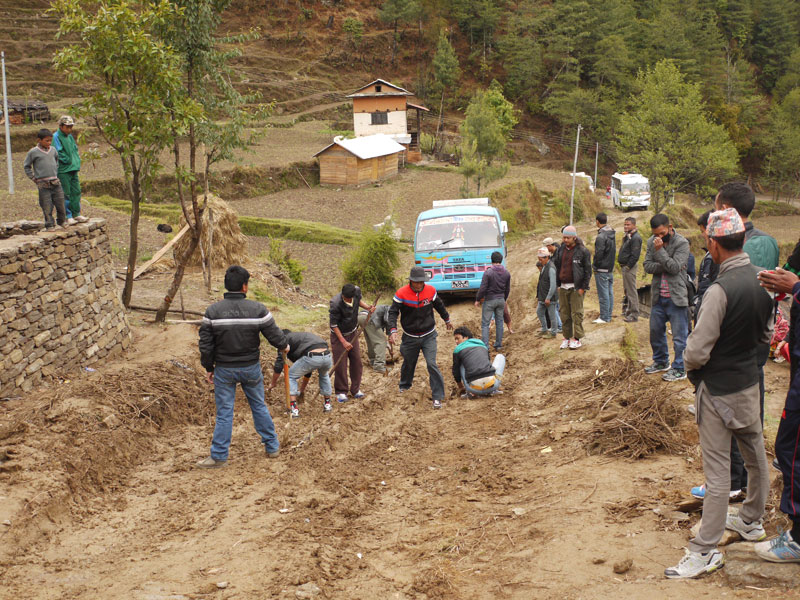 Building a road for the bus coming out of Shivalaya