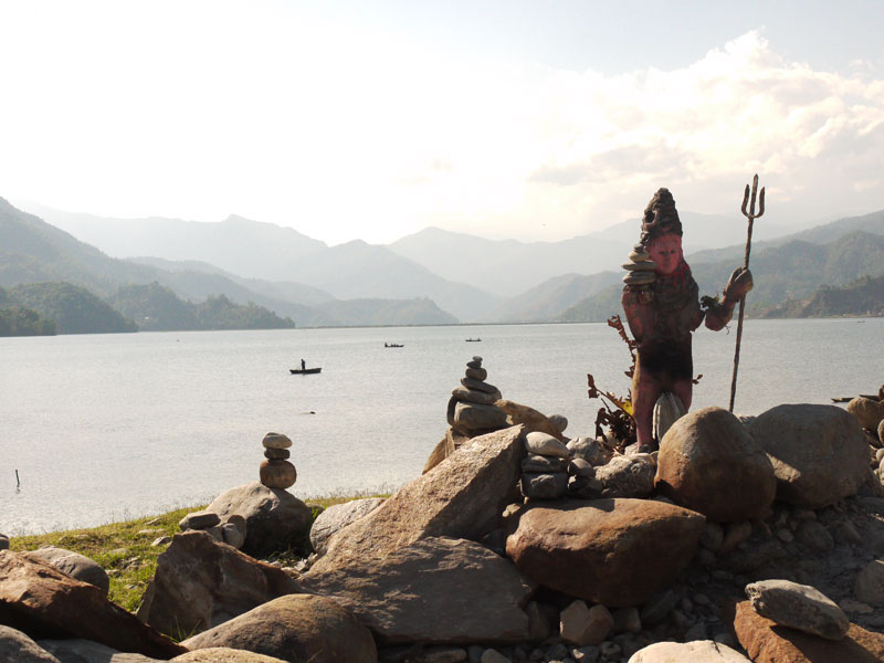Statur of Shiva on the shores of Phewa Tal, Lakeside Pokhara
