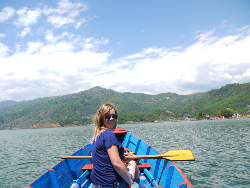 Noelle enjoying the warm weather ona rowing boat in Phewa Tal Lake, Pokhara