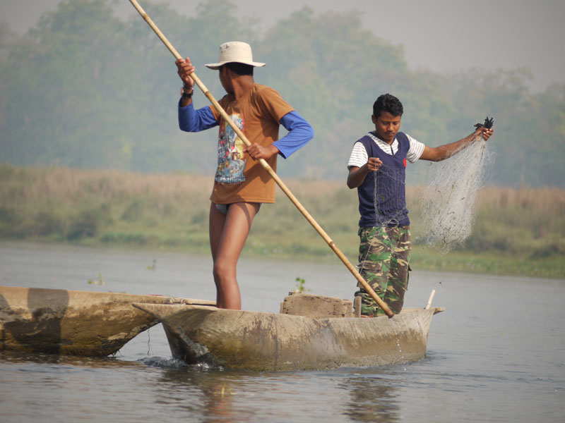 Fishermen at Chitwan National park, Nepal