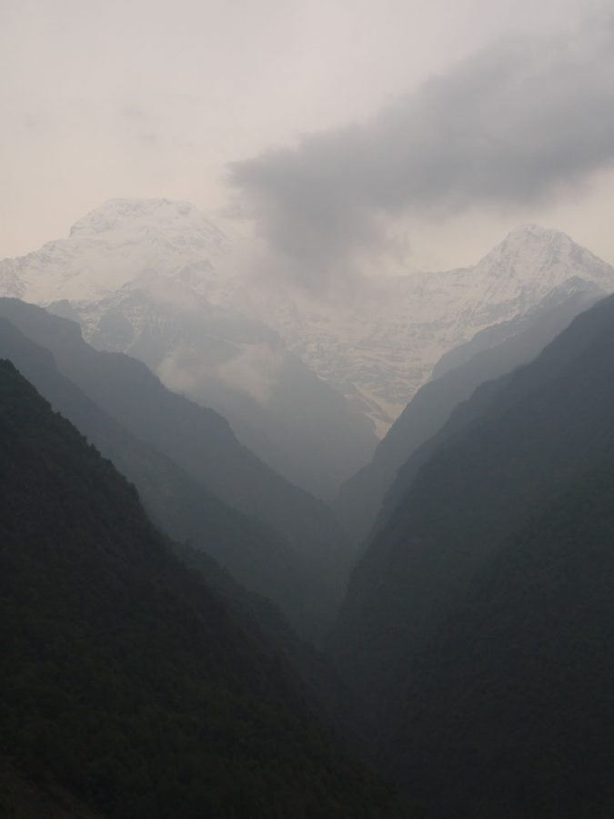 View across the valley towards Annapurna Base Camp from Chomrong