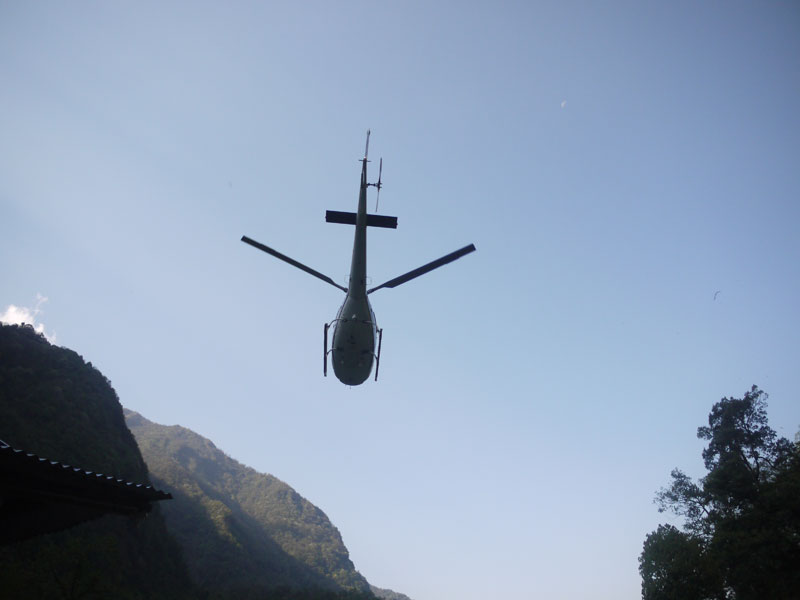 Rescue chopper rising up destined for Pokhara