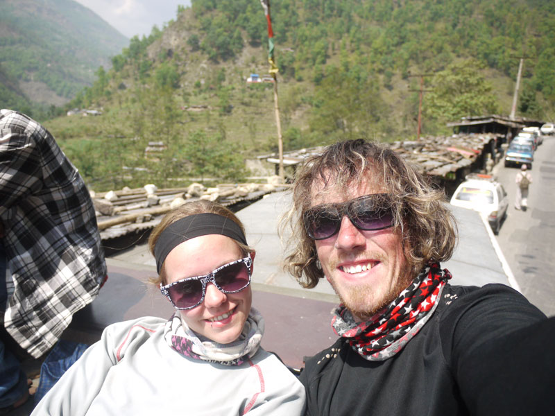 Brian and Noelle on the roof of the bus whizzing back to Pokhara after 9days trekking