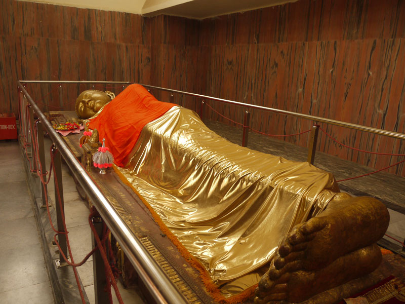 12foot long Buddga Statue inside the Mahaparinirvana Temple, Kushinagar, India