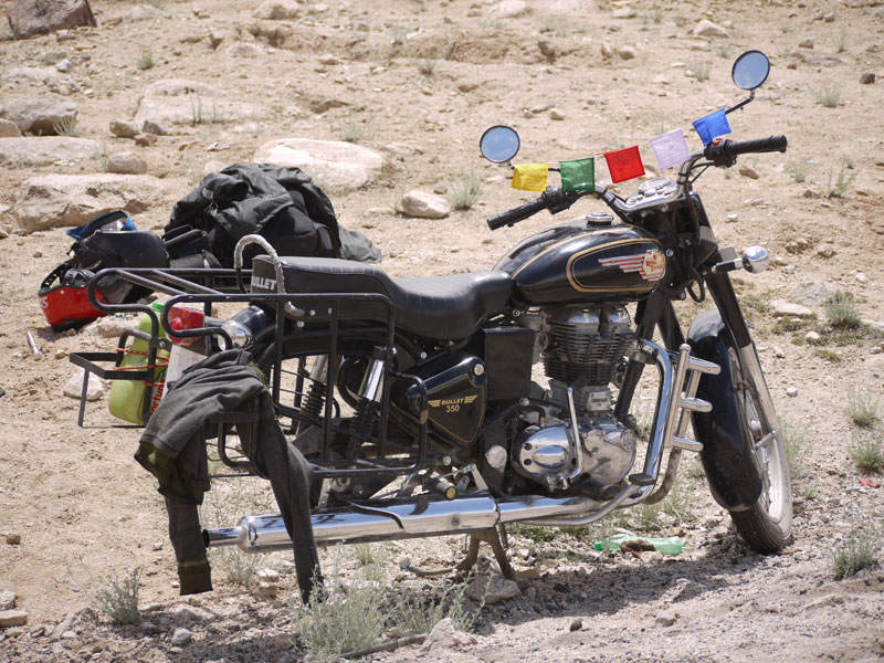 Our Royal Enfield Bullet, minus the back wheel