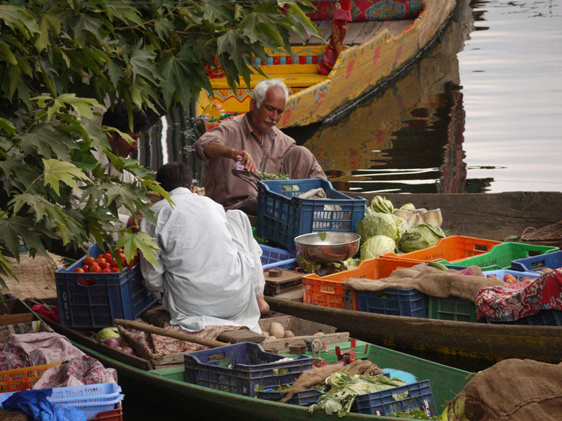 Men selling vegatables on Dal Lake Srinagar