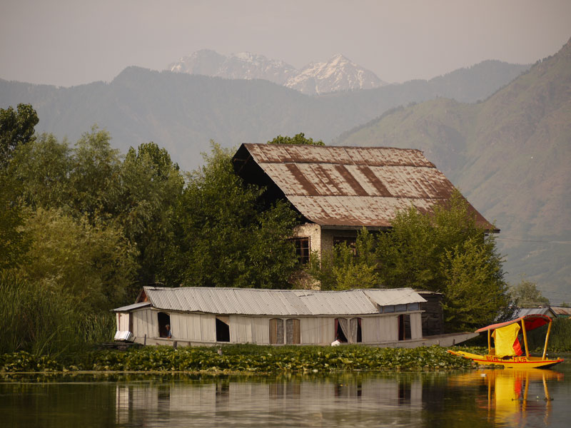 Houseboat with Himalayan background, Srinagar