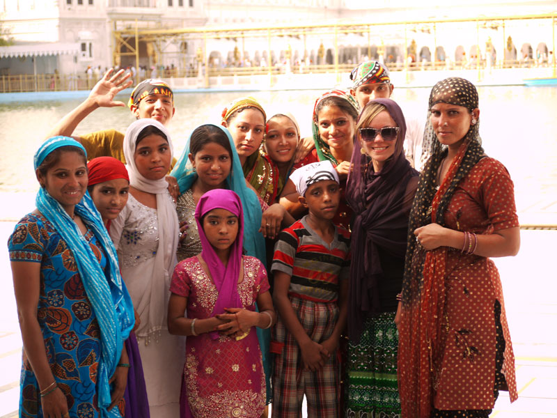 """""""One snap please?!"""" Noelle posing with girls from a small town somewhere in Punjab"""