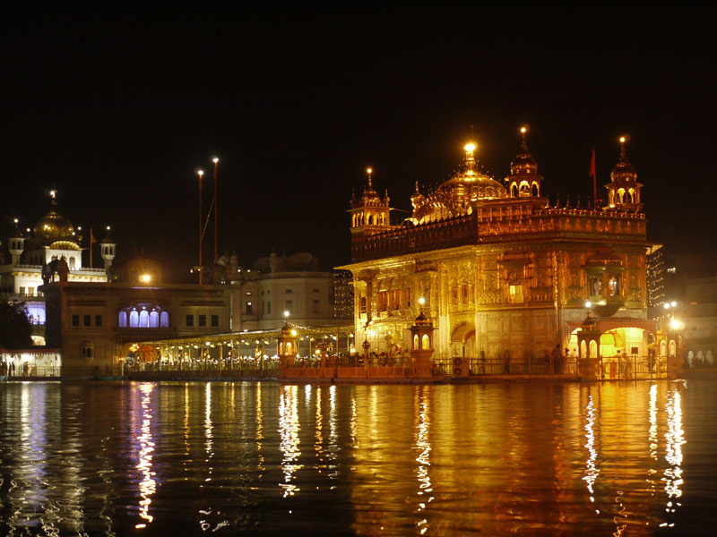 The Golden Temple and Guru's Bridge by night