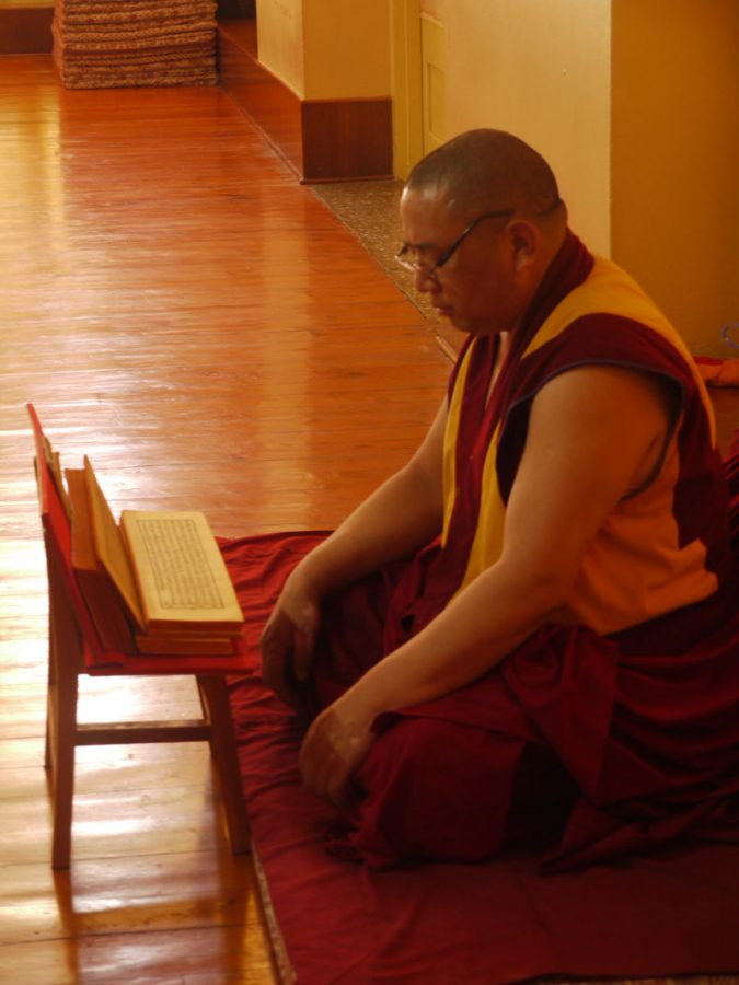 Monk reading inside the Tsuglagkhang temple, McLeod Ganj