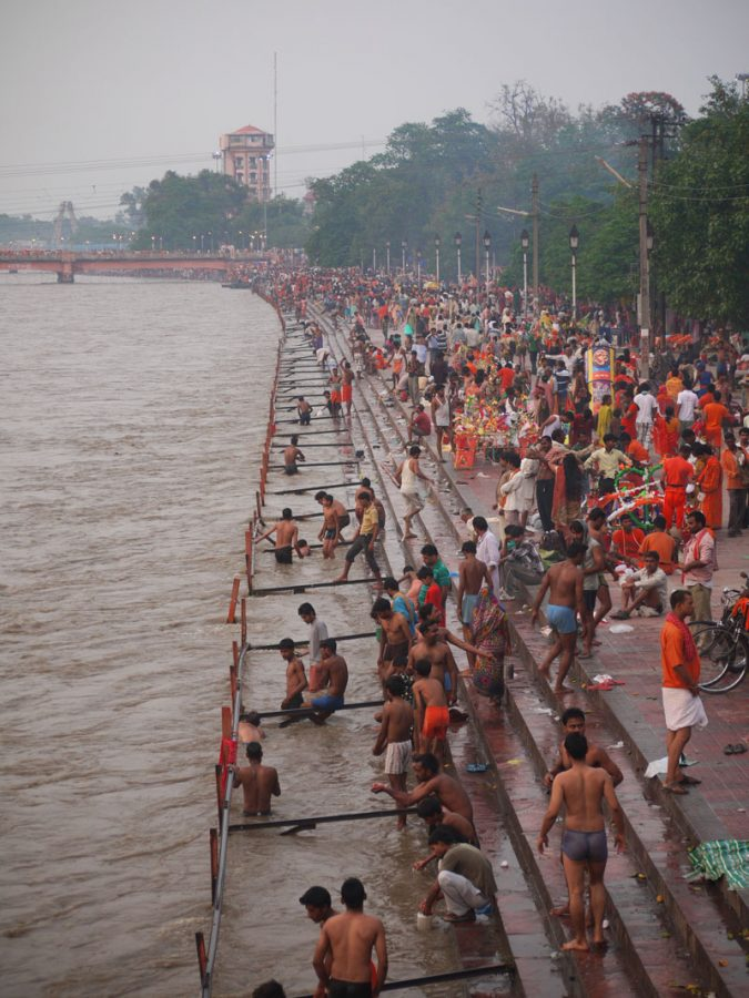 The Ghats of the Ganges river, thronged with pilgrims, Haridwar