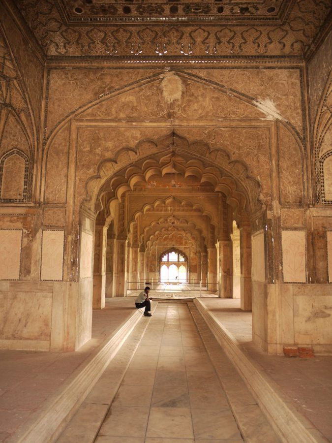 Inside the grounds of the Red Fort, Delhi