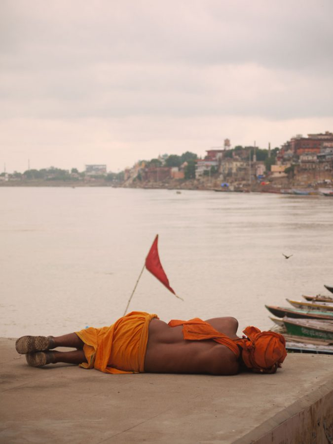 Baba asleep on the banks of the Holy Ganges, Varanasi