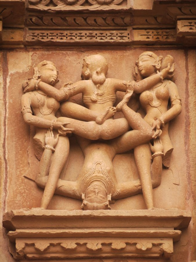 The famous 'handstand' carving at Khajuraho