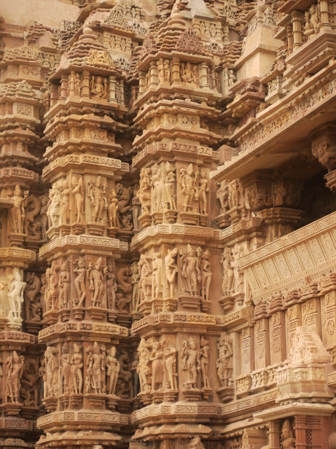 Intricately carved temple pillars, Khajuraho