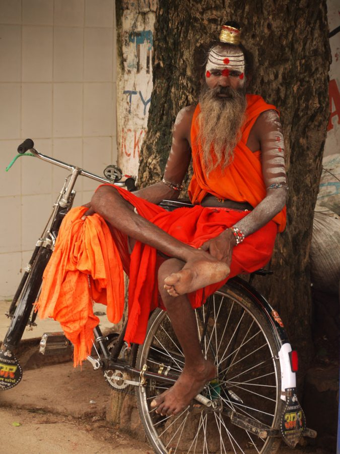 A saddhu and his bike in Orchha, India