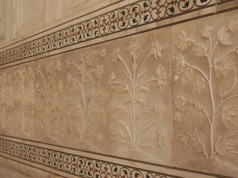 Marble carvings on the walls of the Taj Mahal