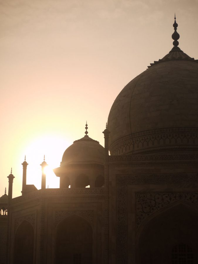 Sunrise over the Taj Mahal central dome