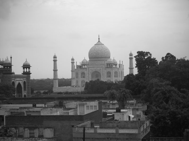 The Taj Mahal taken from a rooftop in Taj Ganj to the south