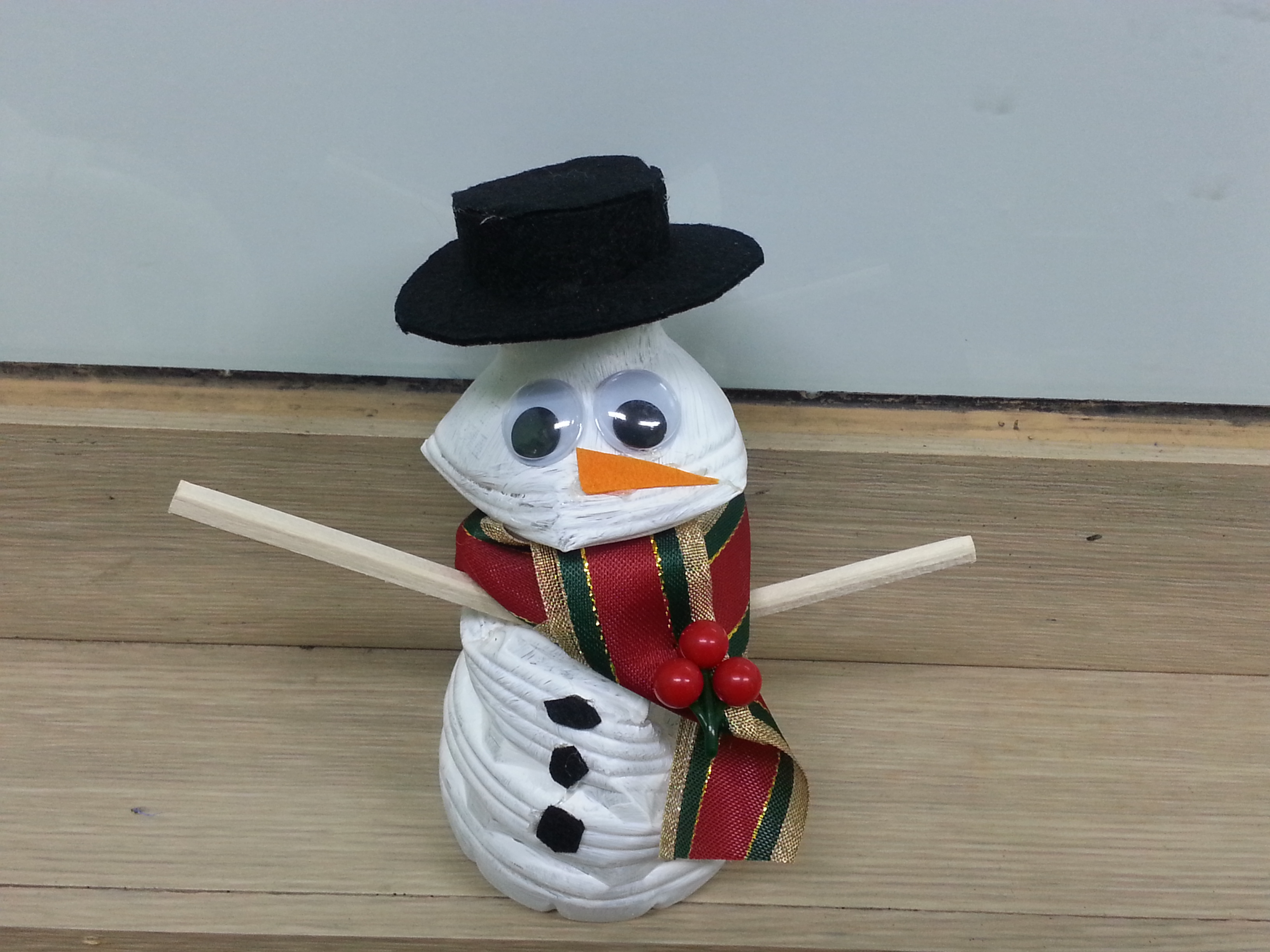 Water bottle snowmen we made with the students during our winter camps while teaching English in South Korea