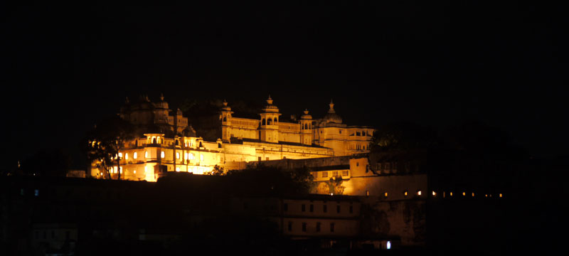 Jagat Niwas Palace by night, Udaipur