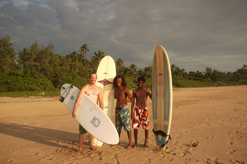 Odd one out! Surfing with the local crew! Gokarna, India