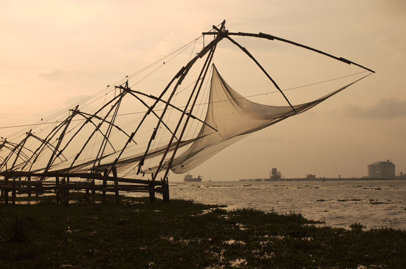 Manually operated Chinese Fishing nets, still in use today, Fort Kochi, India