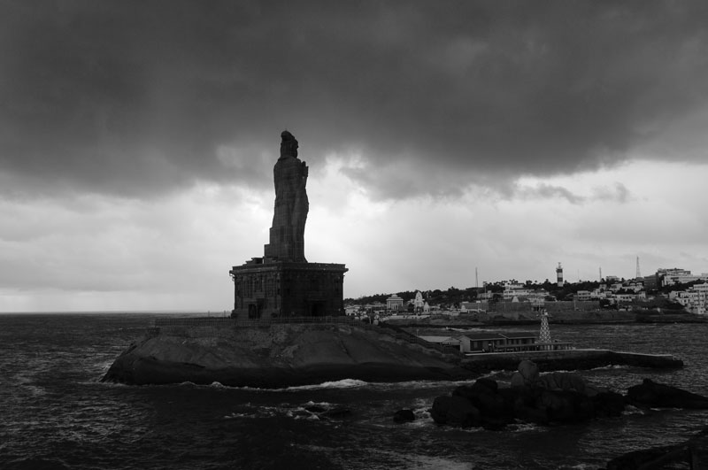 "The 133 feet (41 m) tall Thiruvalluvar Statue, ""India's Statue of Liberty"", Kanyakumari"