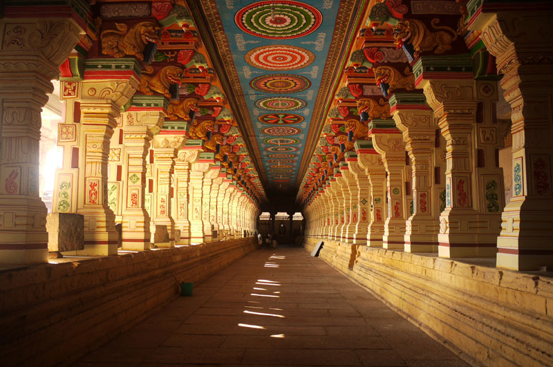 The giant, colourful corridors of the Ramanathaswamy Temple, Rameswaram