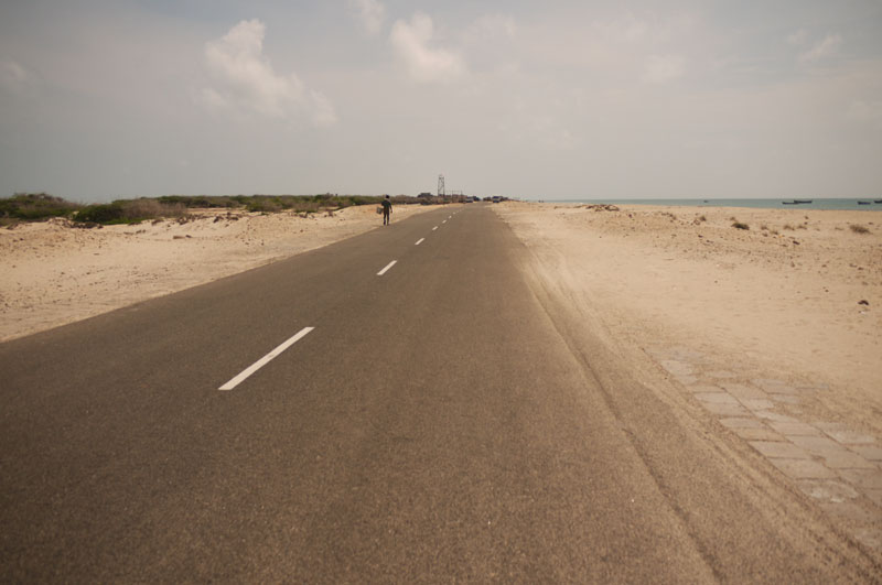 Road to Nowhere. This road leads to the edge of the southern Indian coast where Sri Lanka is just over thirty kilometers away.